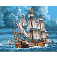 ArtSailing фотографии по номерам на холсте большой корабль на синем море картины по номерам акриловыми красками плакаты с рамкой NP-455