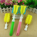 Baby Feeding 2016 New Sponge bottle brush+Sponge Head 2 Pieces Set Cleaning Sponge Brush Straight Shank Bottle Brushes 2 Colors