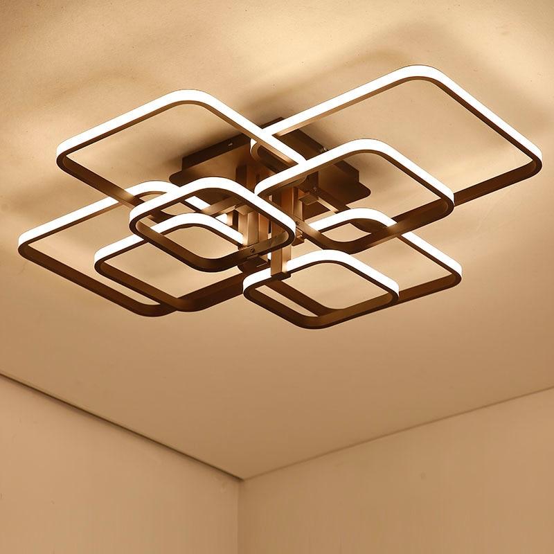 Square frame Modern Led Ceiling Lights For Livingroom Bedroom Lamparas De Techo Aluminum Ceiling Lamp Fixtures luminaria de teto цена 2017