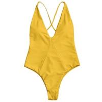 ZAFUL Swimwear Women Cross Back High Cut Swimwear One Piece Spaghetti Straps Criss Cross Padded High