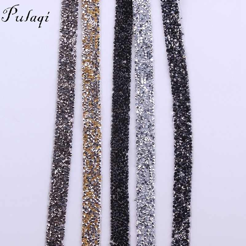 Pulaqi 1 Yard  15mm Chain Trim Resin Strass Banding Crystal Hotfix Clear Crystal  Mesh Hot 8fc53880d542