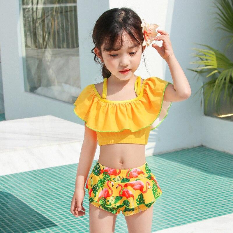 Girls Split Bikini 2019 Two Pieces Baby Girls Bathing Suits Girl Swimsuit Children Bikini Sets Kids Cartoon Swimwear Costumes