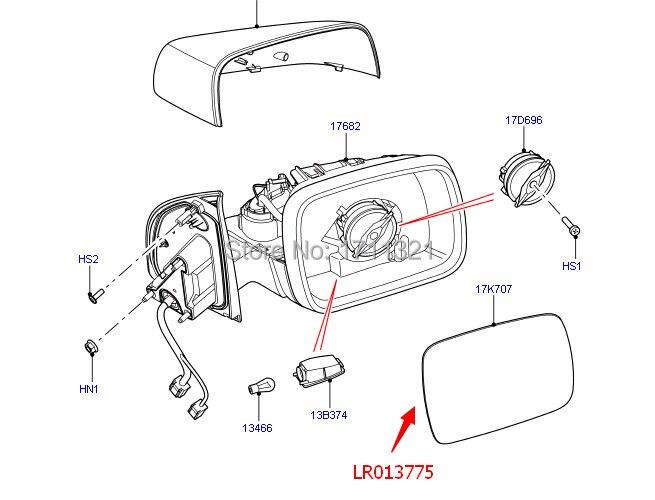 New Mirror Glass Left Side For Land Rover LR2 LR4 Range Rover Sport  LR01-3775