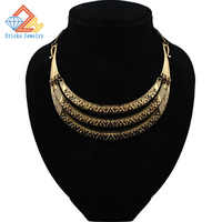 New Luxury Vintage Silver Bronze Three Layer Pendant Maxi Necklaces Women Big Gypsy Choker Statement Necklace