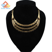 Alloy retro curved collar fashion street shoot half bent metal necklace, free shipping