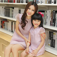 Free Shipping Newest Mom Daughter Pink Color Dress Spring Autumn Winter Children S Clothing
