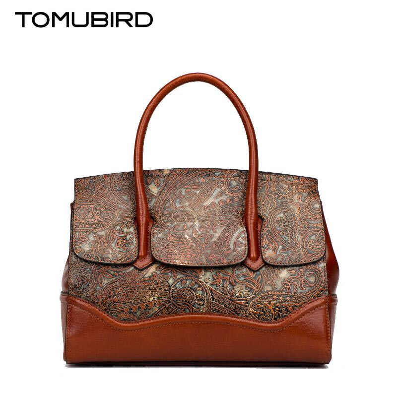 Tomubird 2017 new National Wind printing leather handbag Original embossed platinum bag Shoulder Messenger Bag women's handbags cow leather handbag free delivery tomubird 2017 new leather women wallet national wind hand bag embossed envelopes