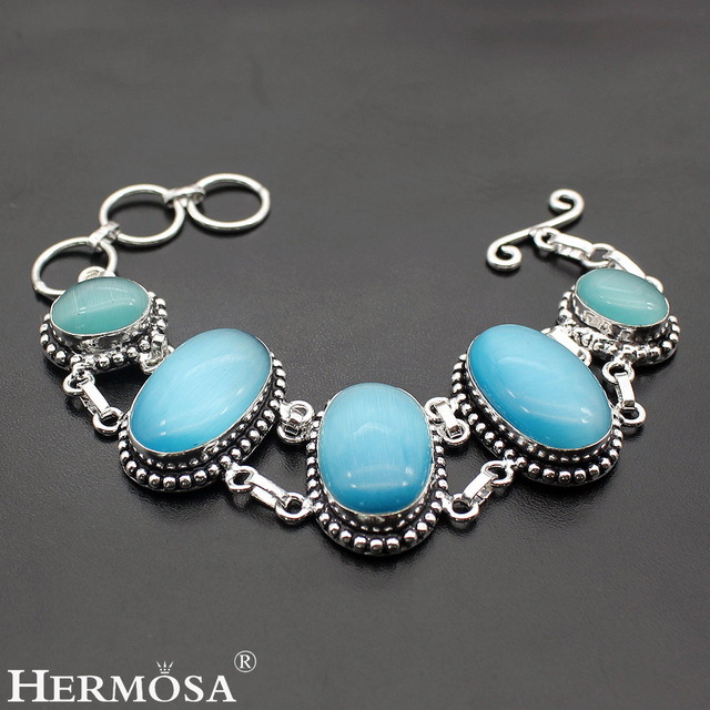 HERMOSA Jewelry Real natural blue jade retro style 925 sterling silver beautiful bracelet  8'' HF290