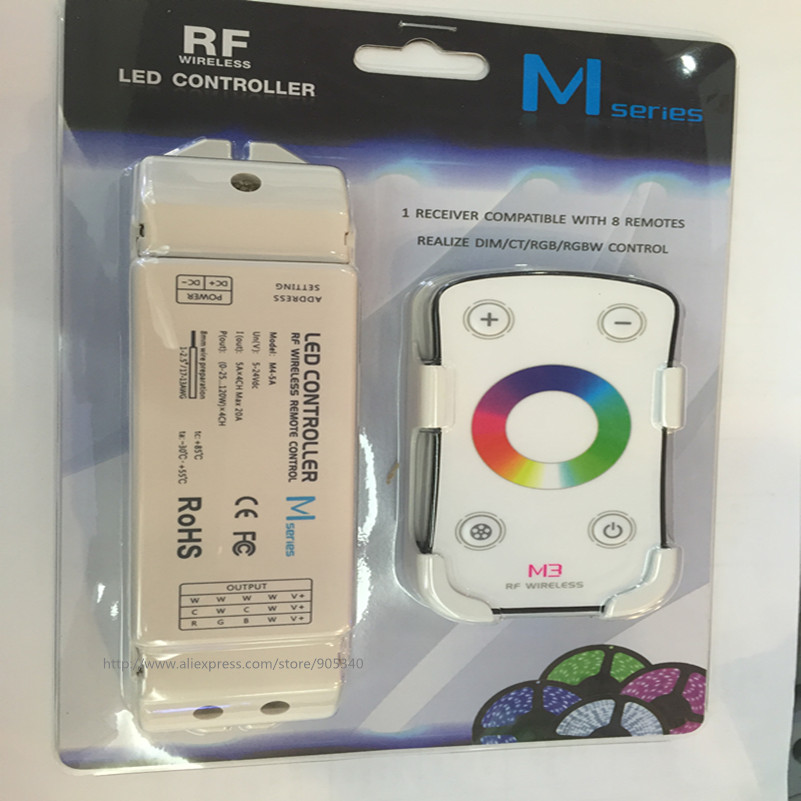 M3+M4-5A RF wireless RGB led controller M3 touch remote with M4-5A CV Receiving controller,DC5V-24V input,6A*3CH Max 18A output m3 m4 5a m3 touch rf remote with m4 5a cv receiver led dimmer controller dc5v dc24v input 5a 4ch max 20a output