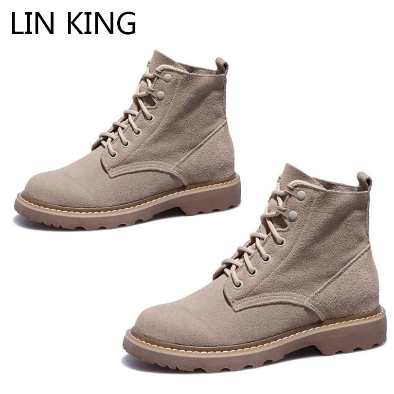 LIN KING New Spring Autumn Women Boots Fashion Thick Sole Ladies Martin Boots Vintage Lace Up High Top Shoes Female Short Botas