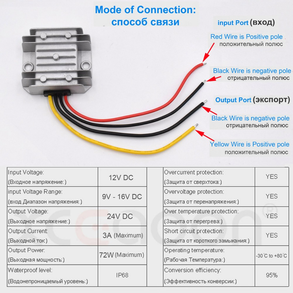 Xcgaoon Dc Converter Adapter Input 12v Voltage Range 9v 16v Wiring Diagram Output 24v 3a 72w Step Up Car Power Supply In Cables Adapters Sockets From