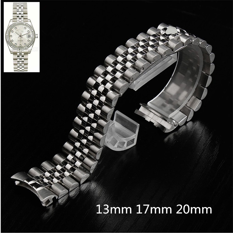 Silver Gold Stainless Steel WatchBand 13 17 20mm Solid Band Bracelet with Oyster Clasp For RX