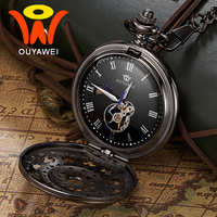 Ouyawei 2017 Mechanical Moon Phase Pocket Watches Retro Black Skeleton Dial Men Automatic Necklace Pocket Fob Watch With Chains