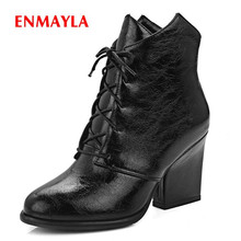 цена на ENMAYLA New style women round toe lace-up square heel ankle boots lady basic ankle boots Big size 34-43 ZYL506