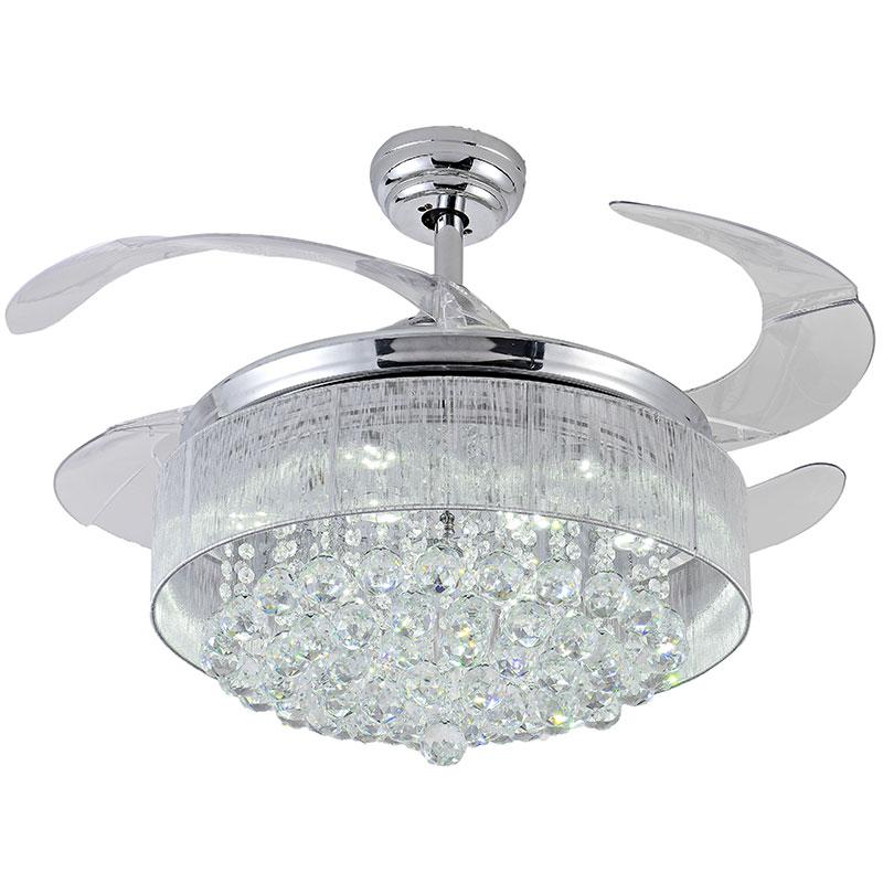 100% CRYSTAL Ceiling Fan Decorative Silver Fan Body Retractable Blades Fan  Light Living Room LED Fan Crystal Dining Room In Ceiling Fans From Lights  ...