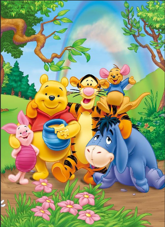 Cute Pooh Bear Wallpapers 8x8ft Winnie Piglet Eeyore Tiger Rainbow Sky Tree Boy Kids