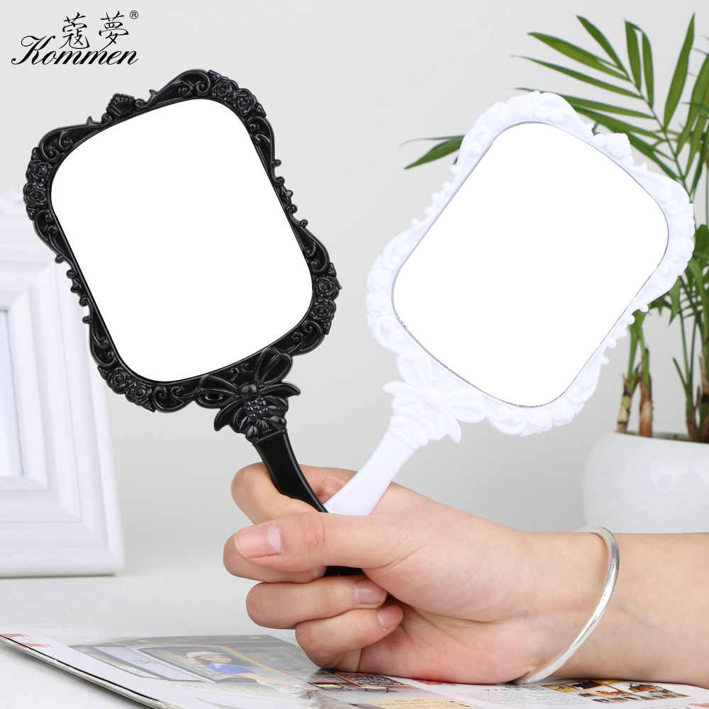 Vintage Handle Makeup Mirrors Square Vanity Small Mirror Pocket Portable New Shaped Design Makeup And Beauty Dress Up