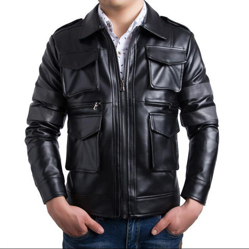 Brand Pu Leather Jacket Veste Cuir Homme 2016 Fashion Design Patchwork Mens  Slim Motorcycle Biker Jacket Stylish Bomber Jacket-in Faux Leather Coats  from ... 1b913e94ad3