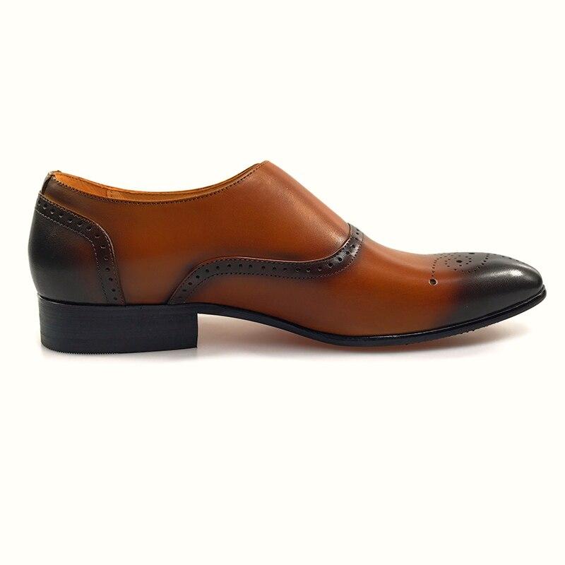Mâle Brun Chaussures Boucle Grimentin Orange Casual Cuir Pour Véritable Hommes 2017 Mode En zqz6HUanw