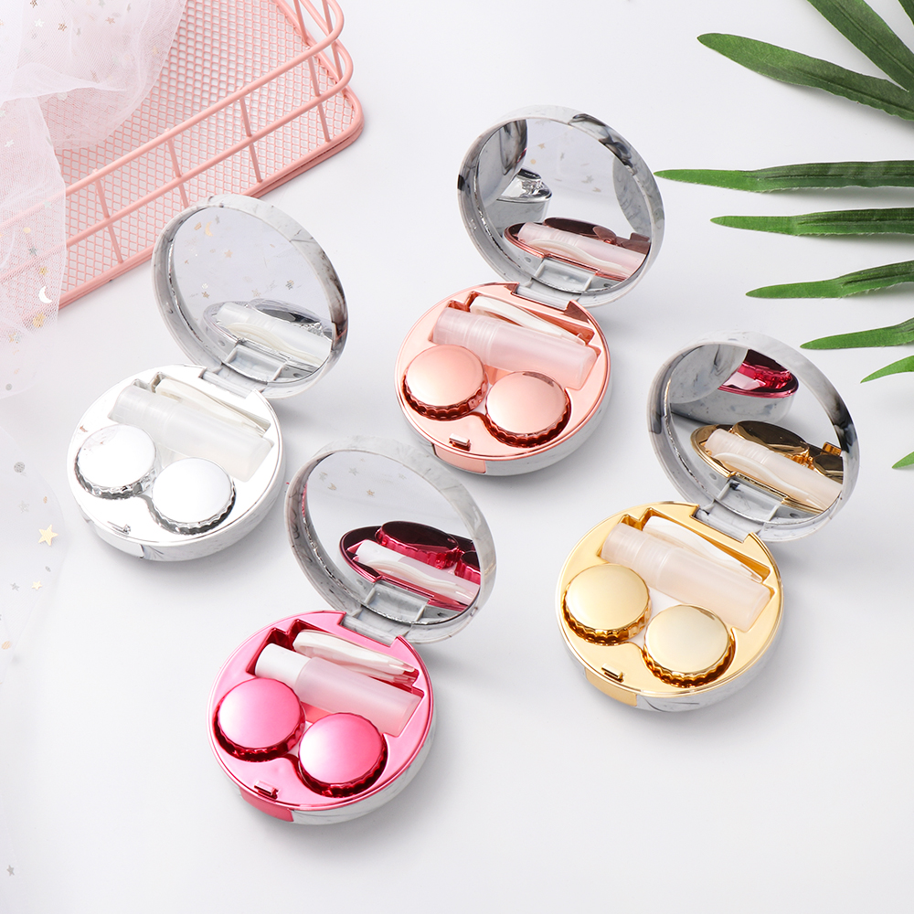 1Pc Hot Cute Marble Stripe Contact Lens Case Travel Glasses Lenses Box For Unisex Eyes Care Kit Holder Container Support Gift