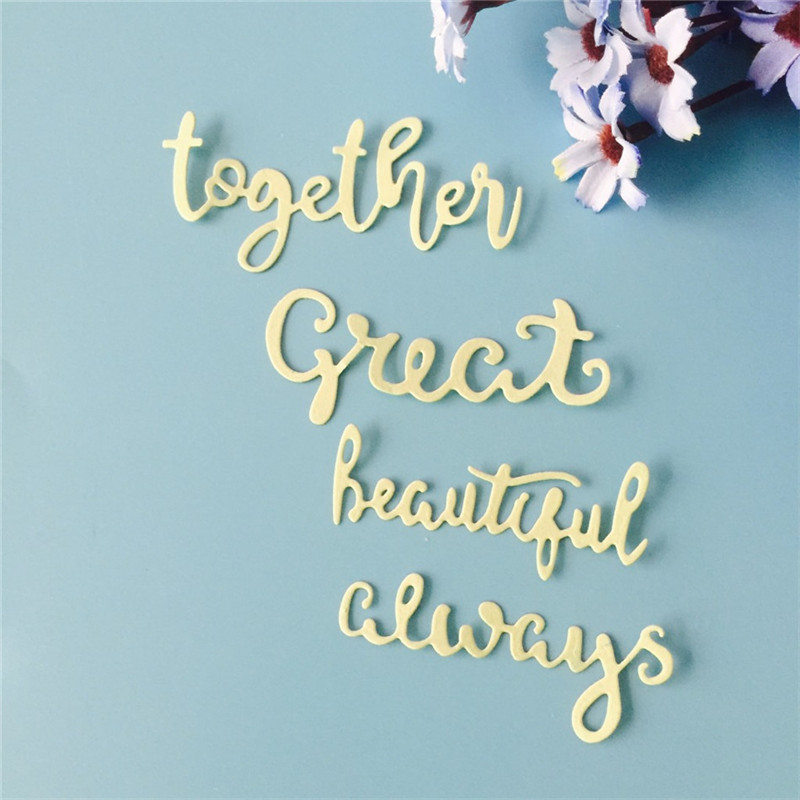 DiyArts 4pcs English Word Dies Together Great Beautiful Always Metal Cutting Dies for DIY Scrapbooking Album Paper Card Making
