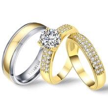 PURE TITANIUM แหวนคู่ Luxury Gold Cubic Zirconia ชุดเจ้าสาวสำหรับสาวงานแต่งงานวงหมั้น Godly อัญมณี