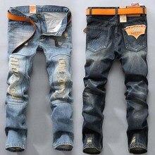 Горячая 2016 мода нищий мужские старинные разорвал отверстие прямые джинсы мужчины байкер джинсы Homme тонкий джинсовые основания хомбре мотоцикл брюки