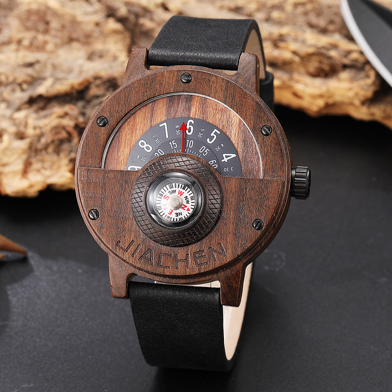 Solid Wood Turntable Number Mens Wood Watch Men Brown Wood Clock Leather Band Creative Compass Leather Strap Male Wrist Watches