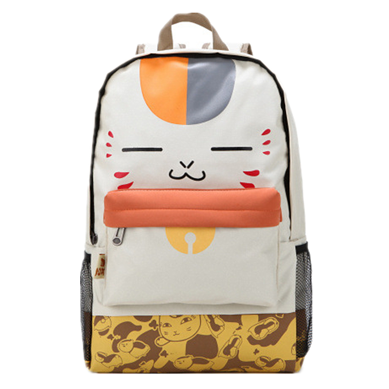 Japanese Cartoon Backpacks Schoolbag Beige Plush Cat Canvas Backpack Women Student School Bags Leisure Book Laptop Bag purchasing fashion bag backpack backpack japanese student backpack 168 172 179