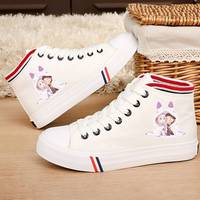 ZERO Ram Rem Kawaii New Cartoon Pattern Flat Casual Shoes Handmade Printed Canvas Shoes Student Lace Women's Shoes A193121