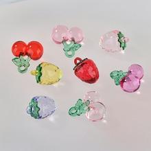 Min order 30pcs/lot color acrylic material handmade cherry/Strawberry shape pendant diy earrings/garment charms accessory