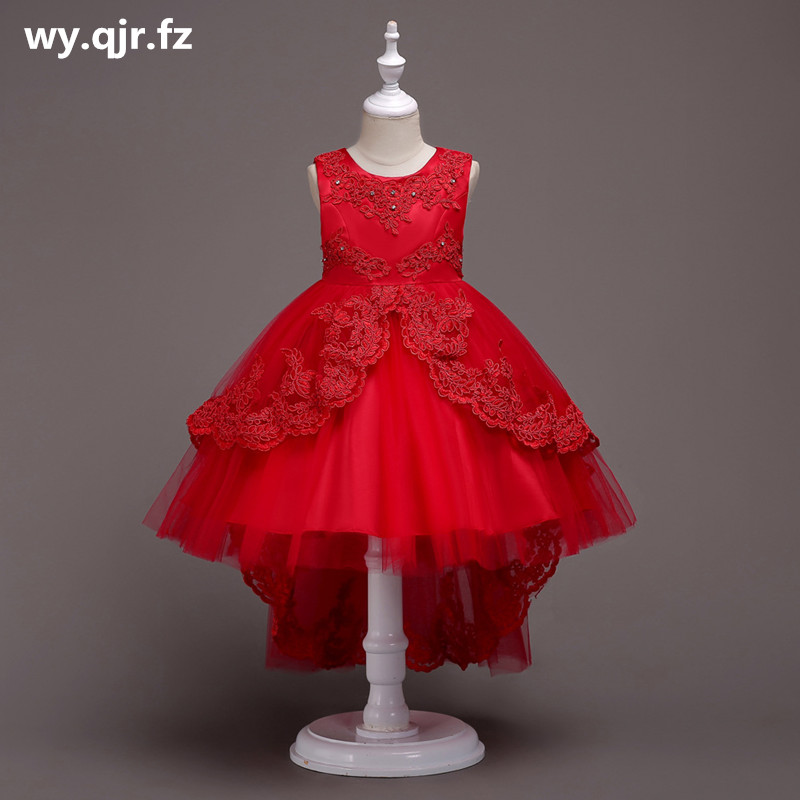 BH584R#Bow Lace Short white Red   Flower     Girl     Dresses   Children's fish tail   dress   wedding party   dress   gown prom wholesale clothes