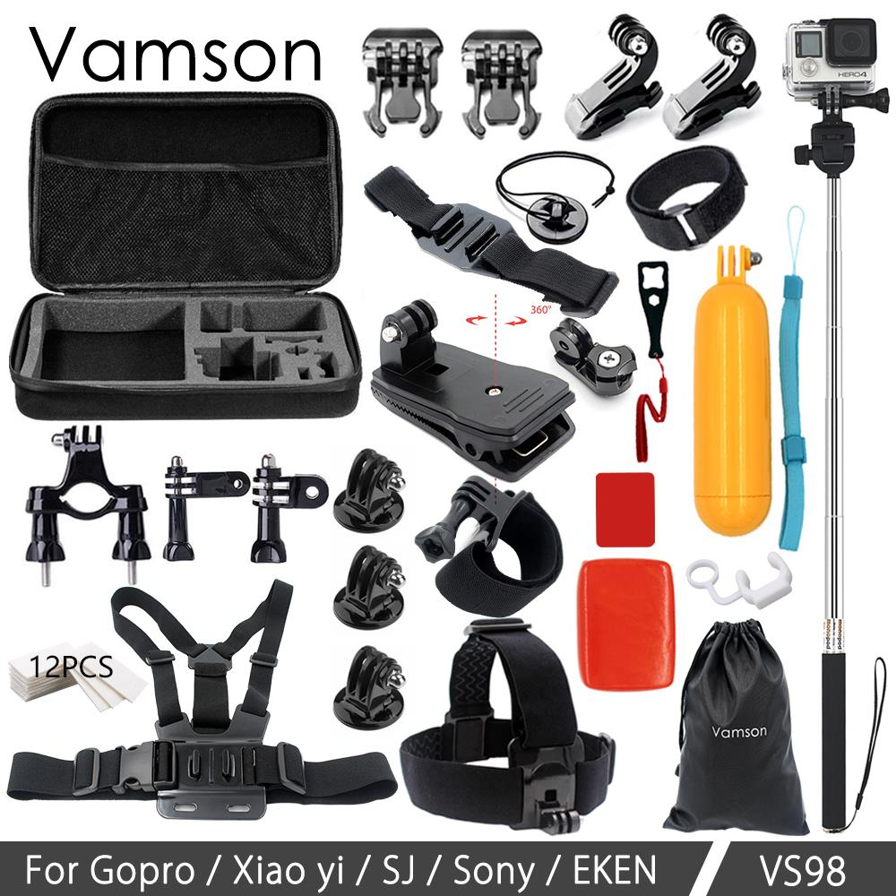 Vamson for GoPro Hero 6 5 4 Accessories Kit Floating Bobber Monopod Tripod Adapter Mount for SJ4000 for Eken for Yi VS98 miniisw m ac universal curved surface mount kit for gopro hero 4 3 3 hero2 hero sj4000 black