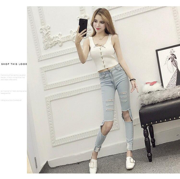 Sommer Frauen Mode Schlank Stricken Lace Up Tank Crop Tops Weibliche - Damenbekleidung - Foto 5