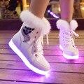 2015 Nova Alta Superior Sapatos Para As Mulheres Brilhante Cor Quente Levou Iluminar Sapatos Casuais Com Pele c63 15
