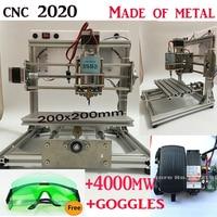 Cnc 2020 + 4000 mw laser grote gebied, cnc graveermachine, Pcb Freesmachine, diy mini cnc router, Houtsnijwerk machine, GRBL controle