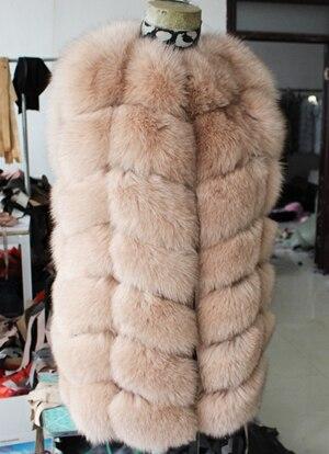 Linhaoshengyue 73 см длинные Высокое качество меха лисы Жилет натуральным лисьим мехом женские жилет - Цвет: beige