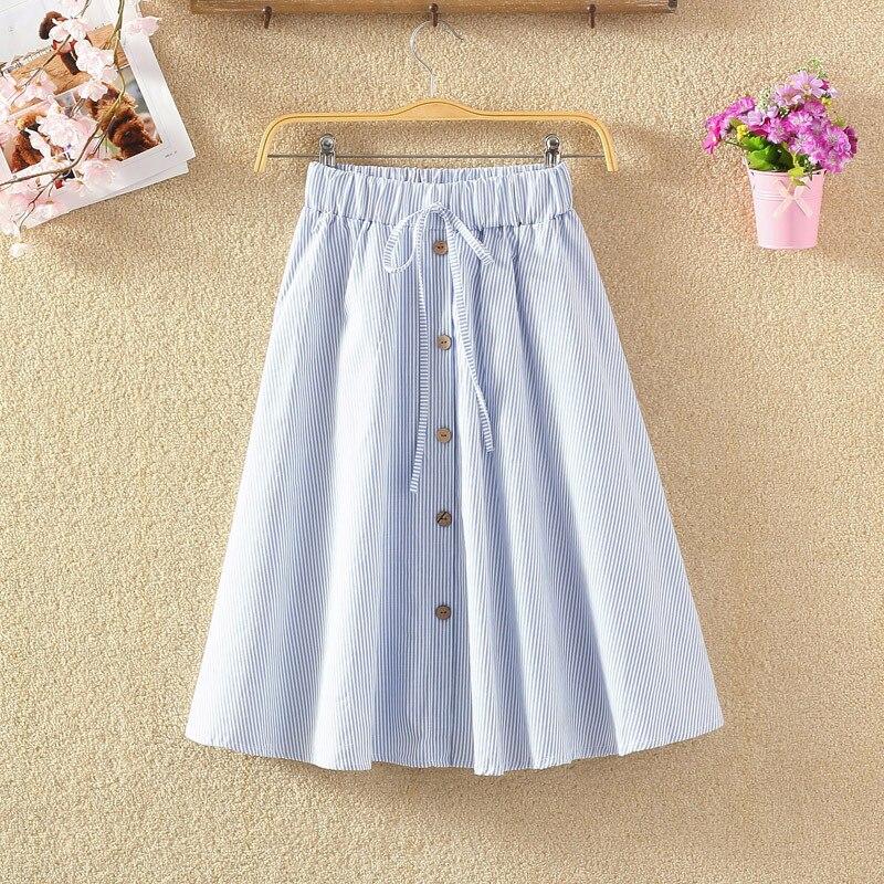 Cotton Linen Pink Striped Skirts Women A-line High Waist Knee Length Midi Skirts Female School Girls Skirt 2018 Summer