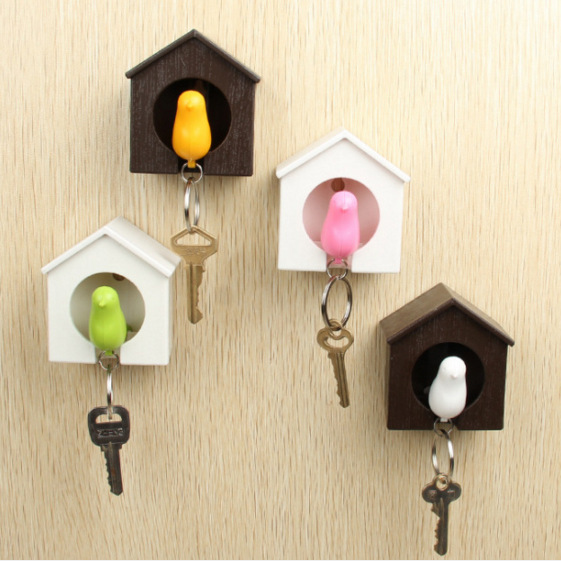 Creative Bird Nest Sparrow House Key Chain Ring Wall Hook Holders Keys Hanger  Bird Whistle Storage Holders Racks Keys Organizer