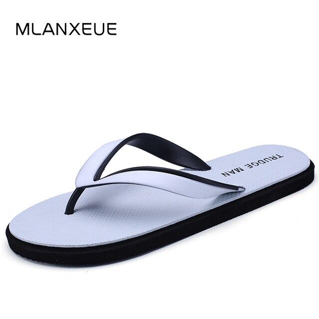 MLANXEUE New Clip Toe Breathable Men Slippers Fashion Non-slip Beach Men Shoes   Plus Size Soft Sole Male Flip Flops Black Shoes