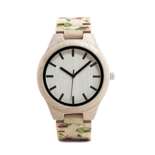 BOBO BIRD WL26 Strong Pine Wood Watches Brand Designer Watch for Men Women New UV Printing Flower Wooden Band Quartz Watch