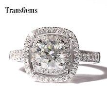 DEF Colorless 2 ct Carat TRANSGEMS Stunning Lab Moissanite Wedding Rings Simulated Diamond Accents Women Birthday 14K Gold Band