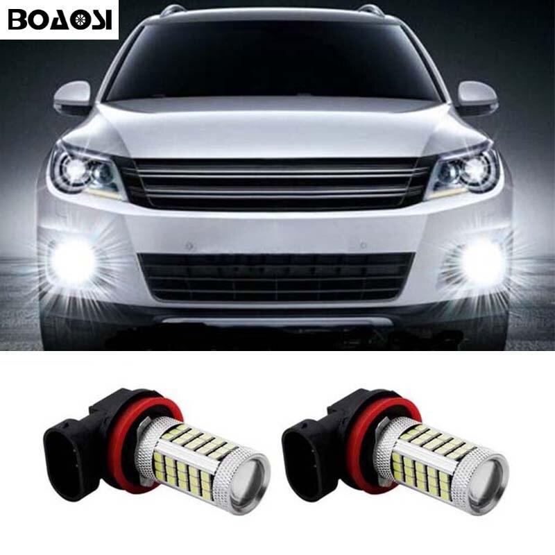 BOAOSI For BMW Ford Mitsubishi Mazda 3 6 cx 5 axela Super White H8 H11 LED Car Fog Lights Driving DRL Bulb 2pcs