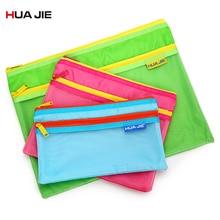Transparent Mesh Zipper File Bag A4/A5/A6 Document Bag Stationery Storage Bag Pen Pencil Paper Bag Organizer Color Random EN4541