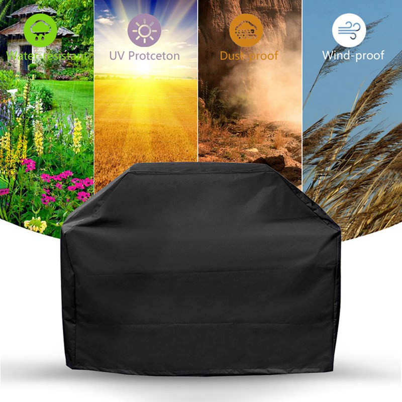 Grill Cover BBQ Cover Protection Dust-proof Rainproof Cloth Cover Square Barbecue Supplies Black Waterproof BBQ Accessories