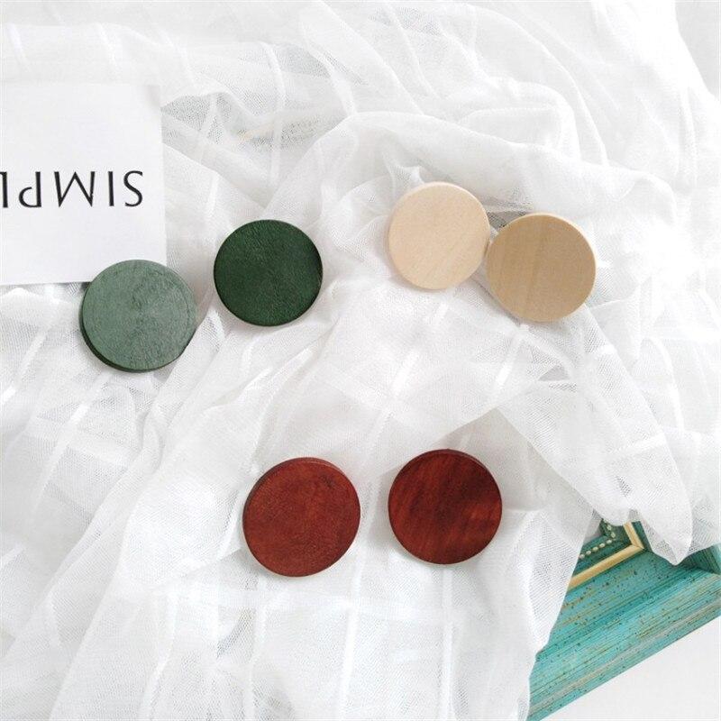 Серьги из дерева в виде бревен с простым дизайном, ювелирные изделия, белые, красные, зеленые круглые деревянные серьги из сплава, женские мо...
