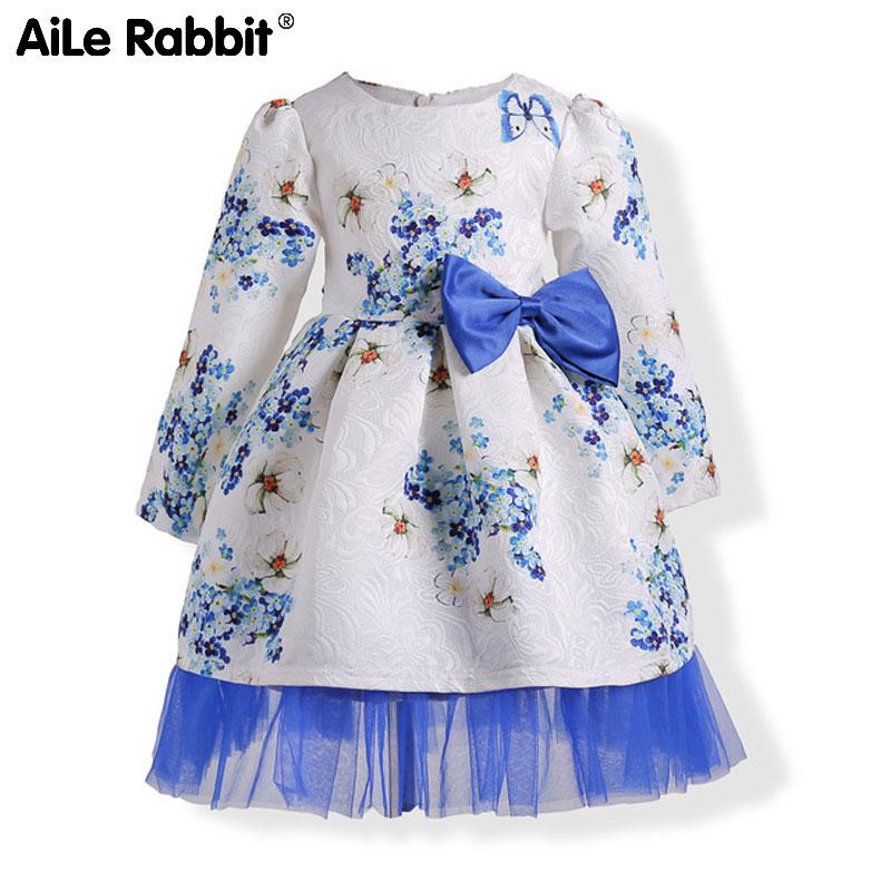 for  ins European and American girls dress jacquard printing  girls long-sleeved male female children