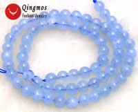 Qingmos Genuine 6-7mm Round Natural Blue Aquamarines Stone Beads for Jewelry Making Necklace Bracelet Loose Strand 15