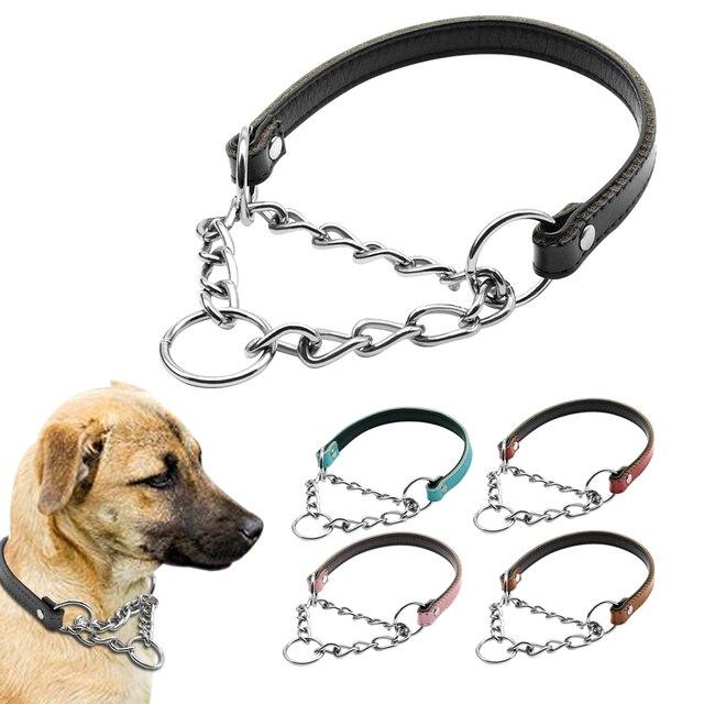 5 Colori Martingala Cani di Formazione Collare di Cuoio Collare di Cane Mezza Ch