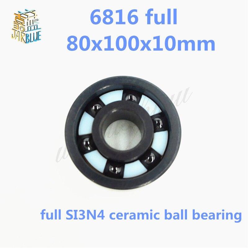 Free shipping 5pcs 6816 full SI3N4 ceramic deep groove ball bearing 80x100x10mm free shipping 608 full si3n4 ceramic deep groove ball bearing 8x22x7mm skatebord bearing